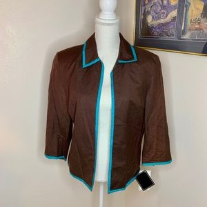 NWT-Bob Mackie Linen Blend Jacket with 3/4 Sleeves